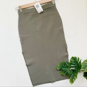 Olivaceous Olive Green Stretch Pencil Skirt